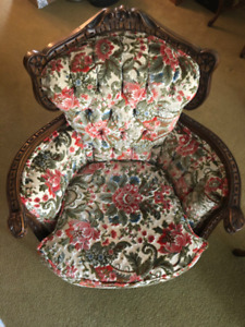 Vintage Victorian Floral Armchair with Carved Wood Trim