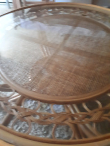 Beautiful Double Glass Cain Coffee Table