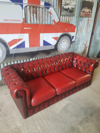 CHESTERFIELD OXBLOOD RED LEATHER 3 SEATER SOFA