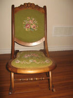 Beautiful VINTAGE Wooden Folding Ladies Accent Rocking Chair