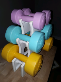SOLD - Kettler Dumbbell Set and Rack