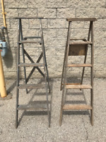 2 VINTAGE WOOD LADDERS - EACH 55 INCHES TALL