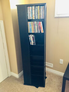 Large Black 4 Sided Spinning CD/DVD/ BluRay Storage Tower !