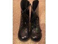Kids kickers patent black boots uk Size 2
