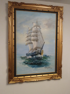 Beautiful Large Original Ship Oil Painting - 1977