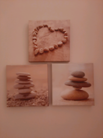 Set of 3 heart pebble canvas in neutral colours