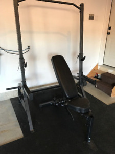 Northern Light Squat Power Rack w Chin Up Bar + Adjustable Bench
