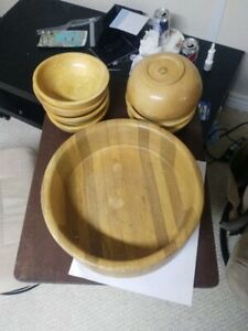 Old wooden bowl collection