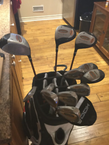 Golf Clubs Men's Left Hand and Taylormade tour bag