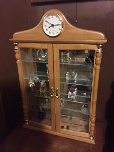 Wood Cabinet with glass front & clock