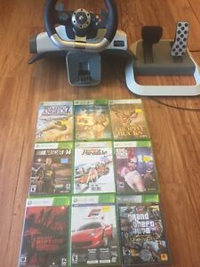 Xbox 360 games and steering wheel $75 obo