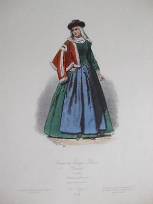 e Politur 1700 Mode Pauquet Gravierung Hand bemalt c1870 (1700 Kostüm)