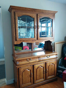 Oak Dining Hutch China Cabinet sideboard