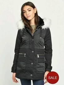 River island Black parka jacket with white fur hood