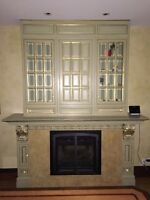 Fireplace Built in Cabinetry with glass doors, drawers, shelving