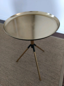 Brass gold and black side table