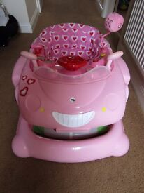 Mothercare 3in1 pink walker/walk along/bouncer
