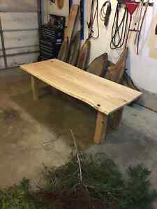 "7' x 2"" thick live edge cherry harvest table London Ontario image 3"