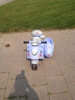 Electric Scooter with Doll Sidecar