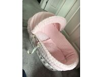 Clair De Lune Pink Marshmallow Moses Basket & Rocking Stand