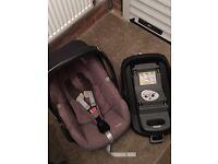 Maxi cosi CabrioFix car seat and family base (isofix)