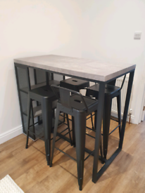 Argos Marble Effect Black Metal Bar Table and 4 Stools