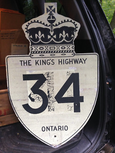 VINTAGE ONTARIO THE KING'S HIGHWAY 34 TRAFFIC SIGN