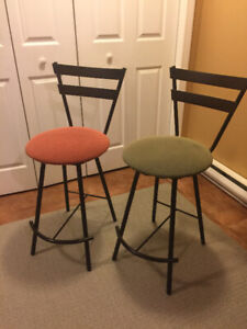 Stools, two cafe/bar swivel stools for sale