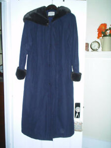 Brand New Long Winter Coat with Borg Sleeves and Attached Hood