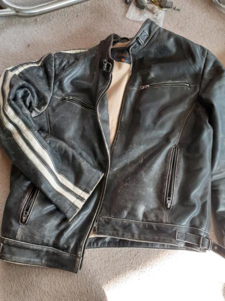 Mens Vintage Retro biker style Leather jacket  for sale  Southwell, Nottinghamshire