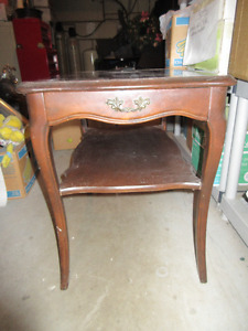 Pair of French Provincial End Tables with drawer and shelf