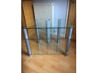 3 Tier Glass and Silver TV Stand