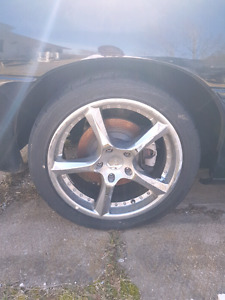 18 inch chrome racing rims and tires