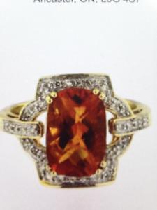 Diamond Citrine Gold Ring
