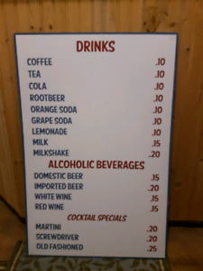 Vintage Drinks Menu