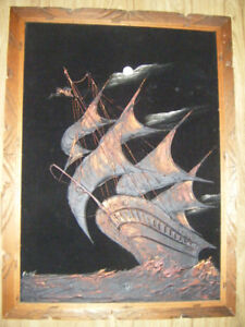 Collectible Signed Velvet Sailing Ship Art