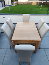 ASH EXTENDING DININD TABLE AND CHAIRS