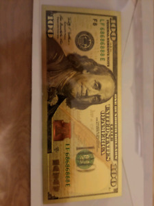 24k gold leaf $100 us bill