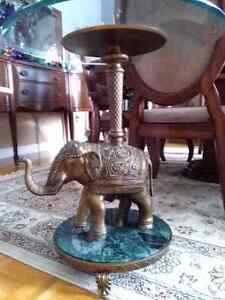 Rare Bombay brass elephant marble glass table