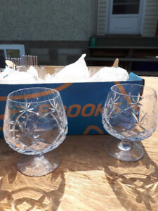 8 Pinwheel Brandy Crystal Glasses - excellent condition