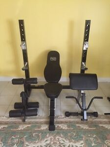 Weight bench and punching bag