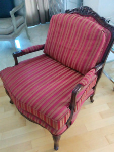 LUXURY mahogany wood red accent chair