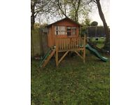 Kids Wooden Playhouse - with slide