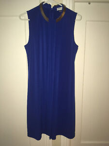 Designer Calvin Klein Blue Sleeveless Dress- Robe Bleu Designer