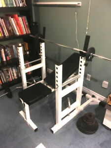 Selling Bench Press & Curl bar w/ 170lb total weights