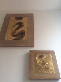 Gold Metallic Gold Canvas pair, Acrylic effect, Abstract
