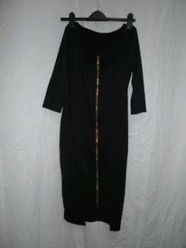 Black front Zipper Midi dress