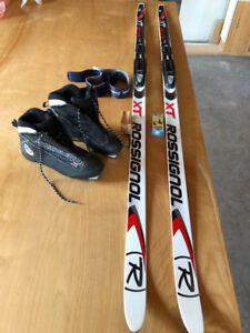 Rossignol women's Nordic skis and boots, almost new.