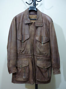 Men's Vintage Brown Leather Jacket: L-XL