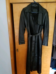 Coat, leather long trench